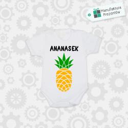 Białe body dziecięce z krótkim rękawem - Ananasek