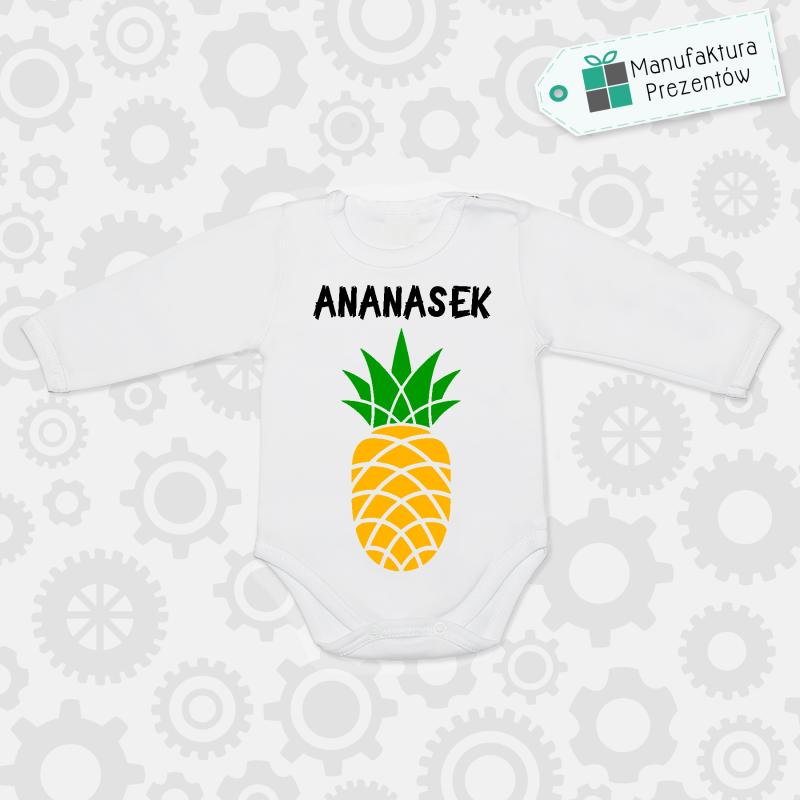 Białe body dziecięce z długim rękawem - Ananasek