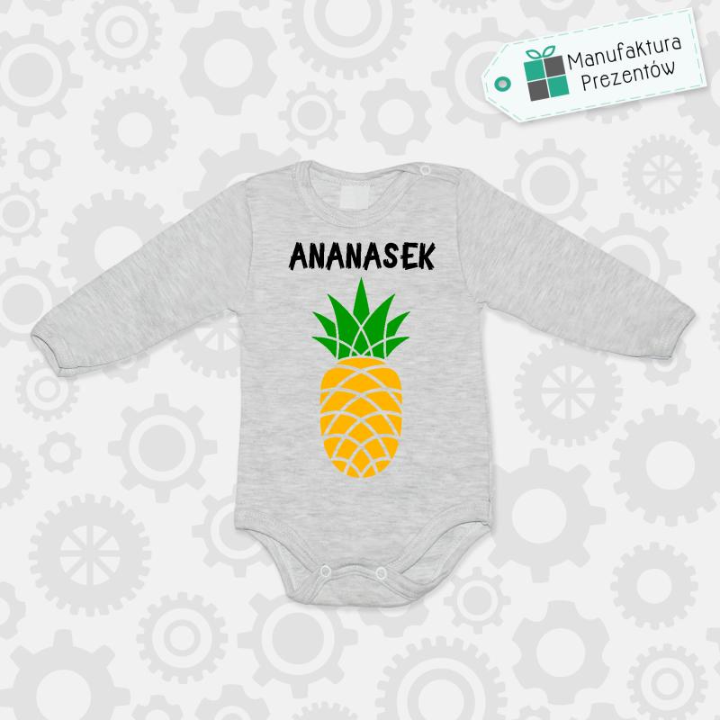 Szare body dziecięce z długim rękawem - Ananasek