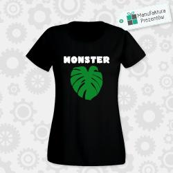 Monster / Liść monstera - koszulka damska czarna