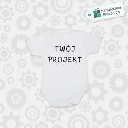 Białe body dziecięce z krótkim rękawem - Spersonalizowane body niemowlęce z własnym nadrukiem