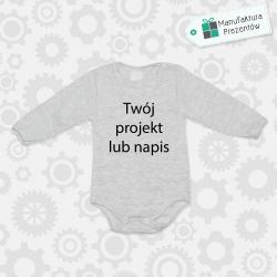 Szare body dziecięce z długim rękawem - Spersonalizowane body niemowlęce z własnym nadrukiem