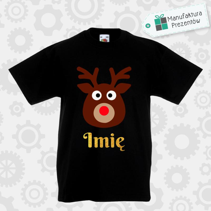 Świąteczna koszulka z imieniem dziecka - koszulka chłopięca czarna