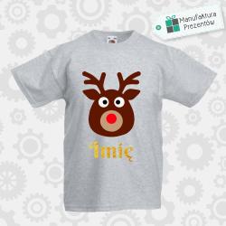 Świąteczna koszulka z imieniem dziecka - koszulka chłopięca szara