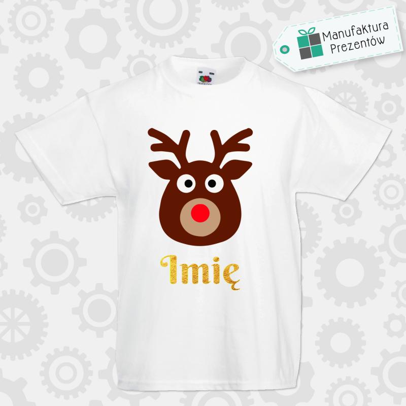 Świąteczna koszulka z imieniem dziecka - koszulka chłopięca biała
