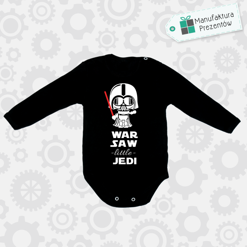 Czarne body dziecięce z długim rękawem - Warsaw Litlle Jedi