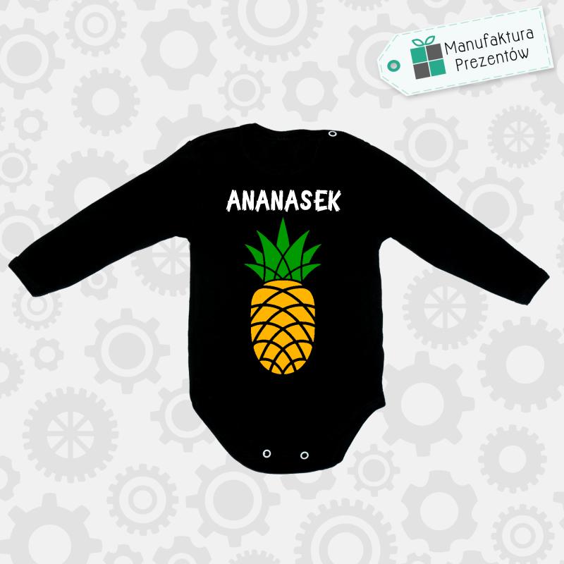 Czarne body dziecięce z długim rękawem - Ananasek