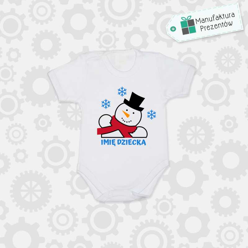 Białe body dziecięce z krótkim rękawem - Body z imieniem dziecka na Święta