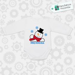 Białe body dziecięce z długim rękawem - Body z imieniem dziecka na Święta