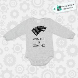 Szare body dziecięce z długim rękawem - Winter is coming