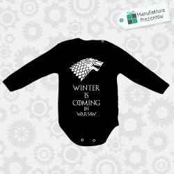 Czarne body dziecięce z długim rękawem - Winter is coming in Warsaw