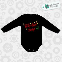 Czarne body dziecięce z długim rękawem - Wesołych Świąt