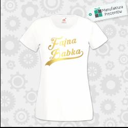 Fajna Babka - złota/srebrna - Koszulka damska biała