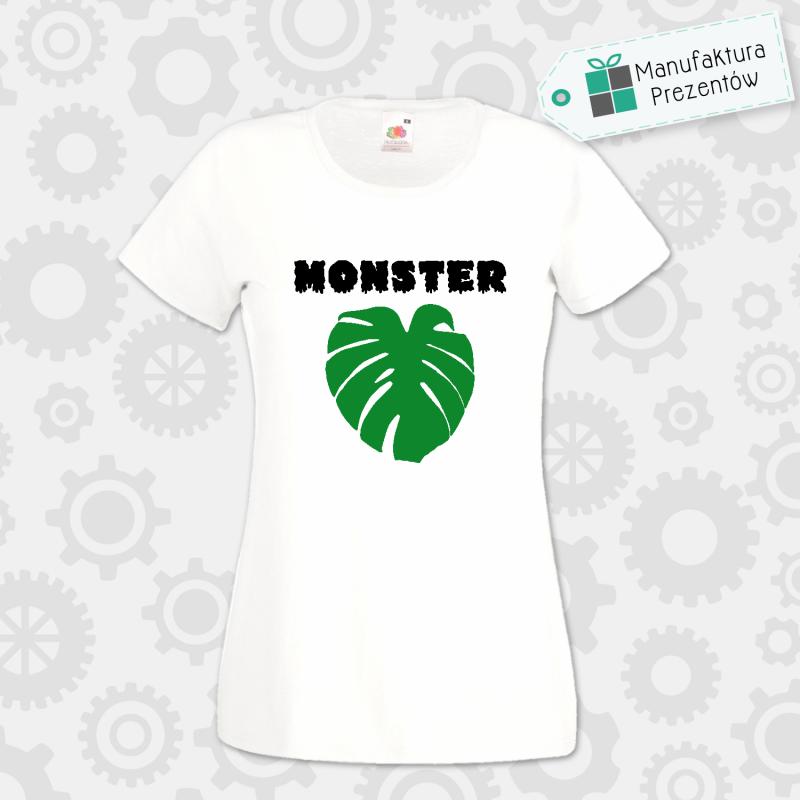 Monster / Liść monstera - koszulka damska szara biała