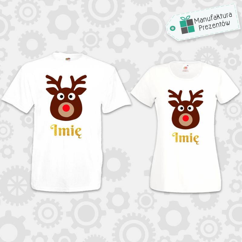 Świąteczne koszulki z waszymi imionami - zestaw dla Par biały