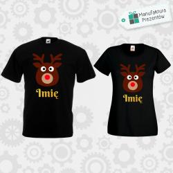 Świąteczne koszulki z waszymi imionami - zestaw dla Par czarny