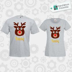 Świąteczne koszulki z waszymi imionami - zestaw dla Par szary