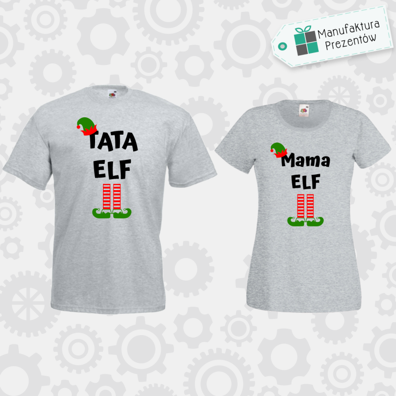 Tata Elf i Mama Elf - zestaw dla Par szary