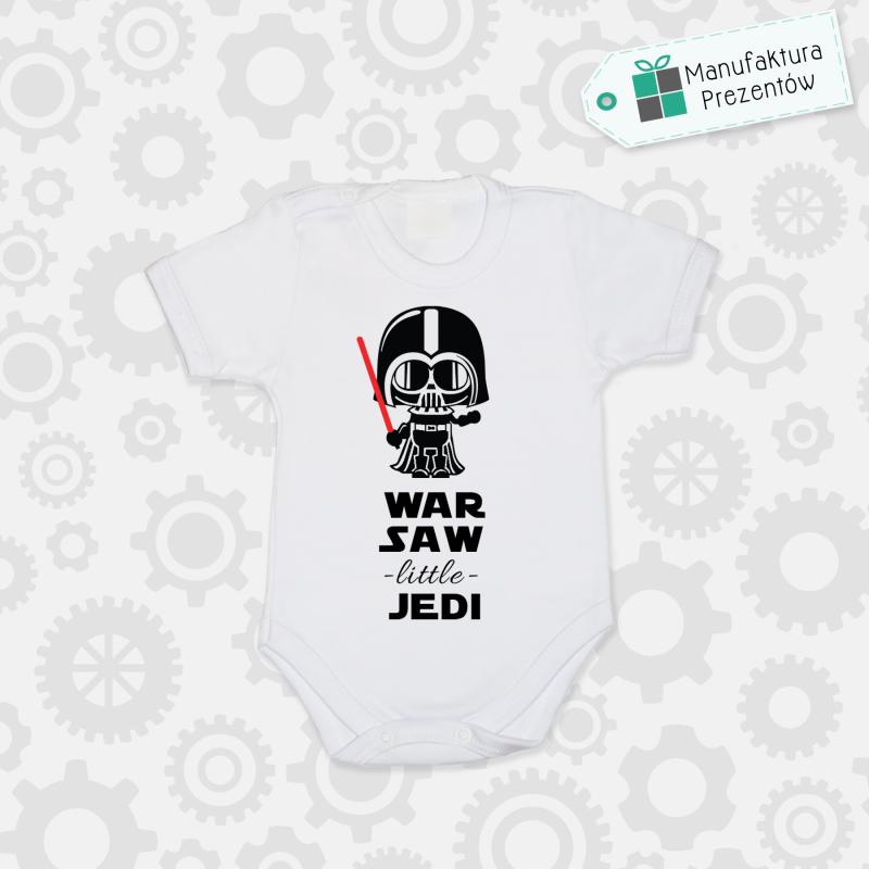 Białe body dziecięce z krótkim rękawem - Warsaw Litlle Jedi