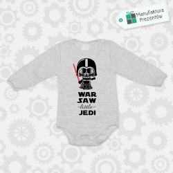 Szare body dziecięce z długim rękawem - Warsaw Litlle Jedi