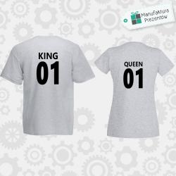 King and Queen 01 - 2 koszulki dla par szare